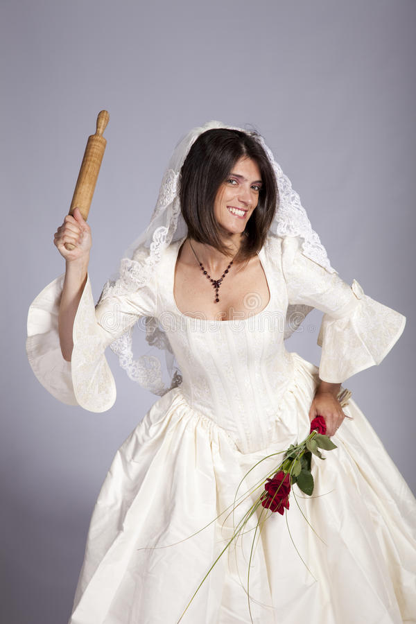 疯狂美丽的新娘 免版税库存图片