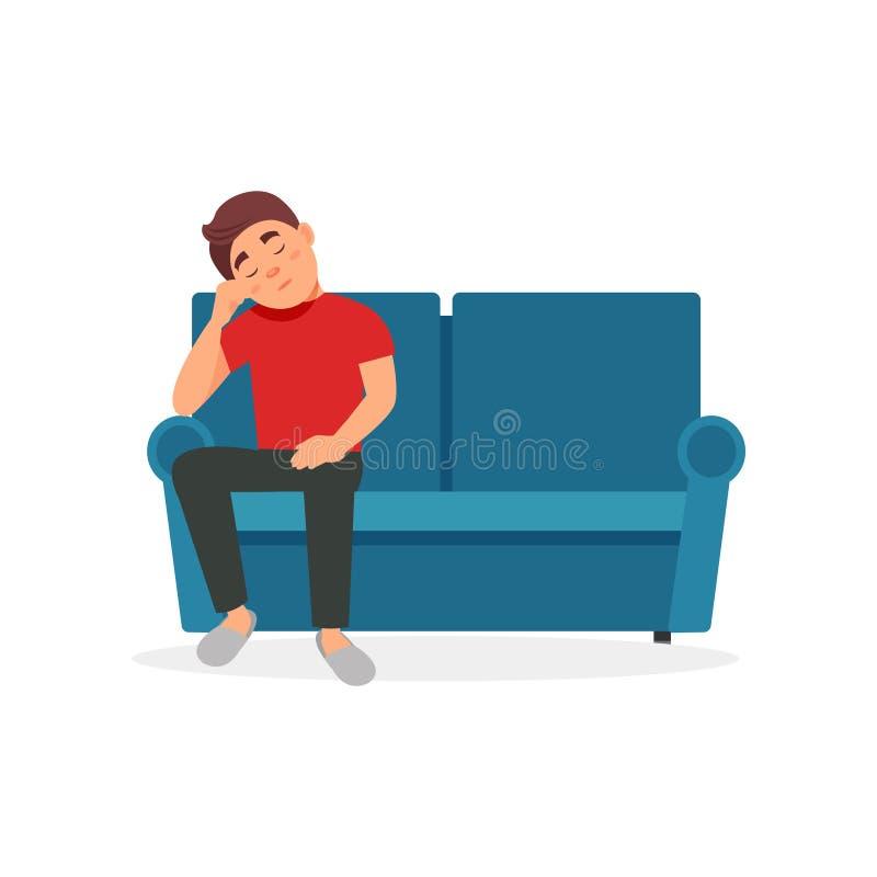 疲乏的人坐在白色背景的沙发传染媒介例证 皇族释放例证