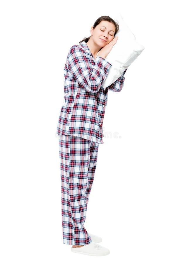 疲乏的妇女睡着站立,在全长的画象在白色 库存图片