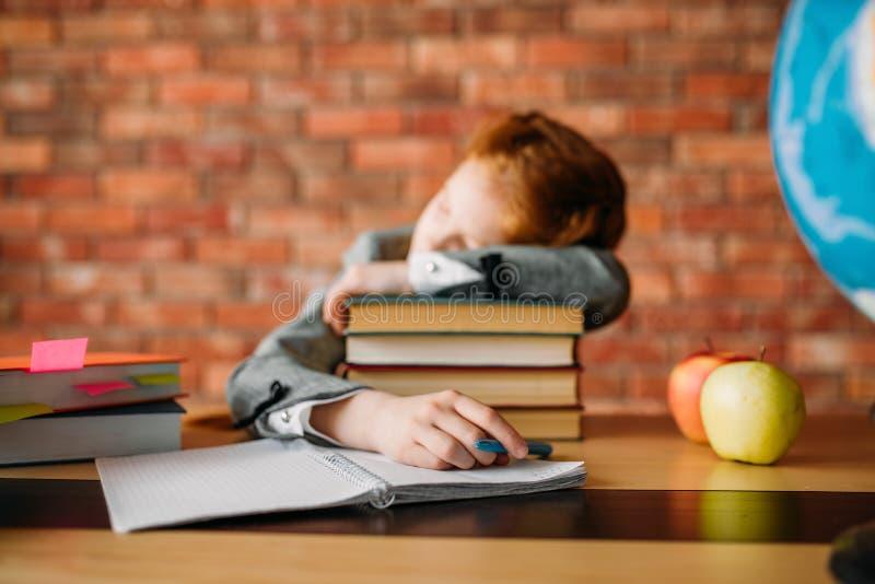 疲乏的母学生睡着在堆课本 图库摄影