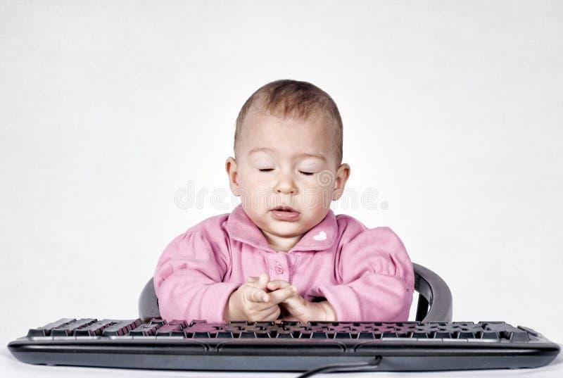 疲乏的婴孩 库存图片