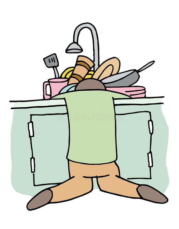 疲乏的洗碗机人 皇族释放例证