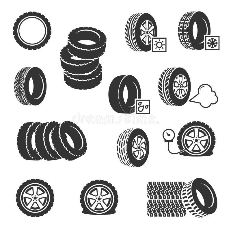 疲倦商店,被设置的轮胎变动自动服务传染媒介象 库存例证