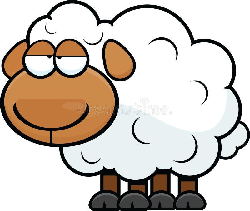 疲倦的动画片绵羊 库存照片