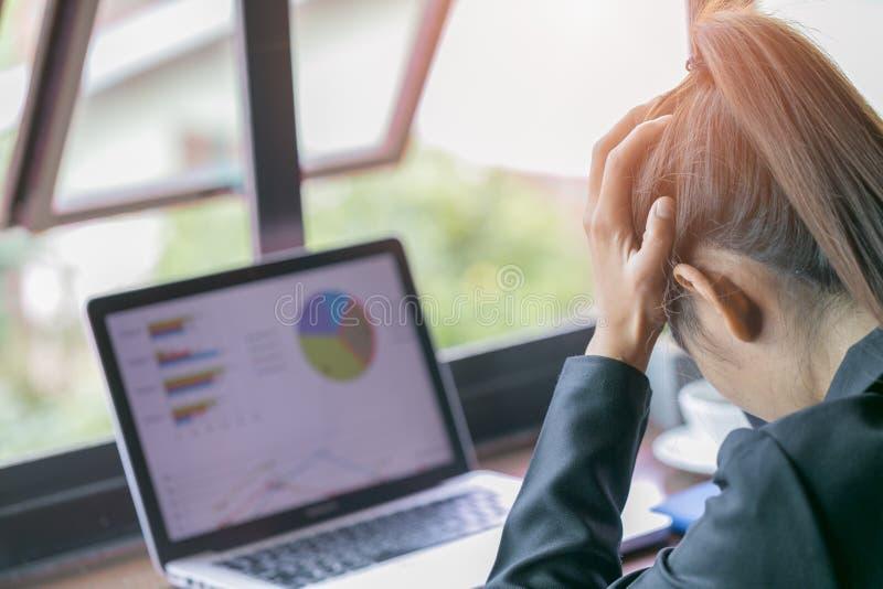 疲倦的感觉担心事务的沮丧的哀伤的妇女,女商人的问题从研究强调说膝上型计算机, 免版税库存图片