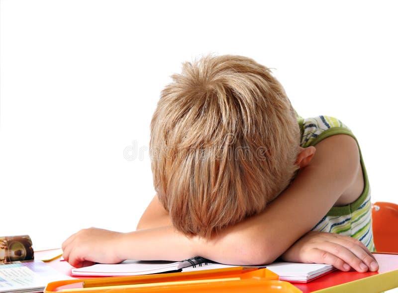 疲倦的男孩学校 库存照片