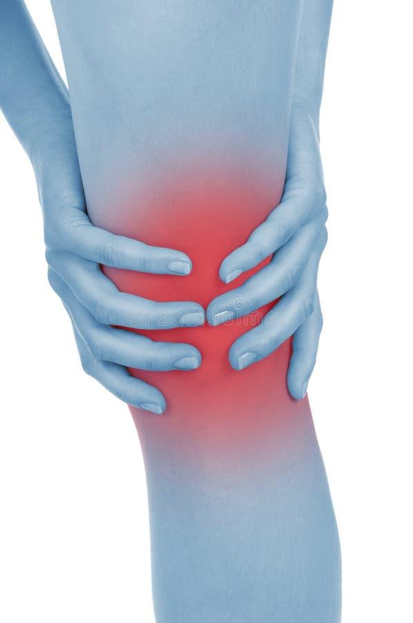 疼痛膝盖,腿,显示红色,保持被递 免版税库存图片
