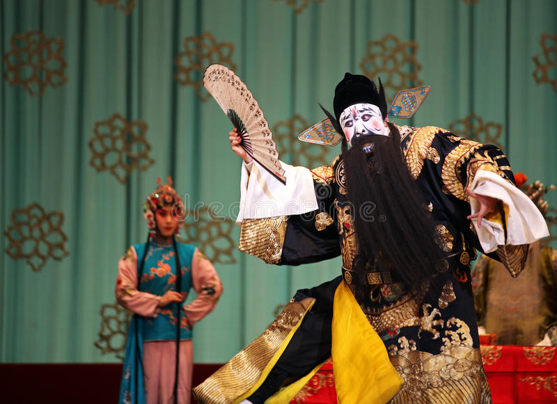 疾驰的头发的西部片北京红色 免版税库存照片