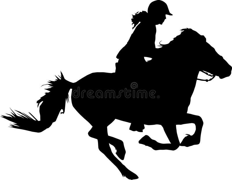 疾驰的马和车手剪影 皇族释放例证