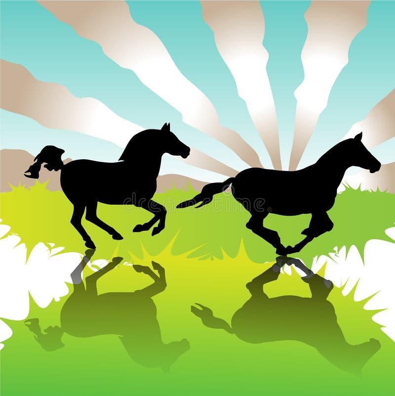 疾驰的马 向量例证