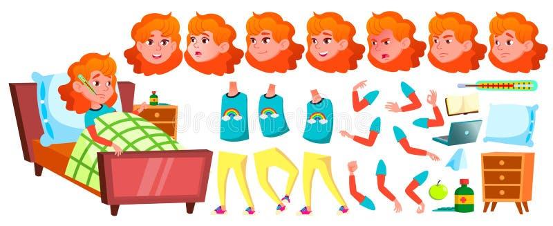 病态的女孩女小学生传染媒介 小学生 动画创作集合 面孔情感,姿态 学童 9月 库存例证