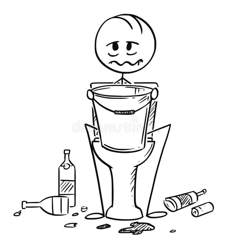 病或醉酒的人动画片坐与桶的洗手间在手上 皇族释放例证