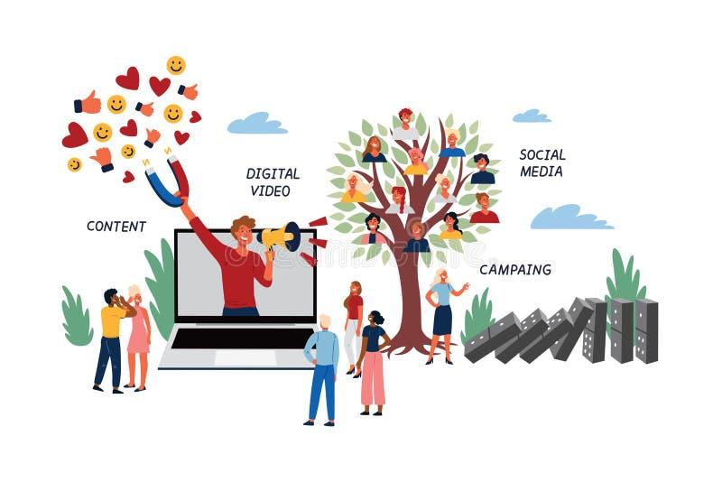 病毒和社会媒介行销的企业概念 向量例证