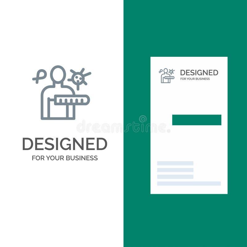 病毒,疾病,健康检查,演出灰色商标设计和名片模板 向量例证