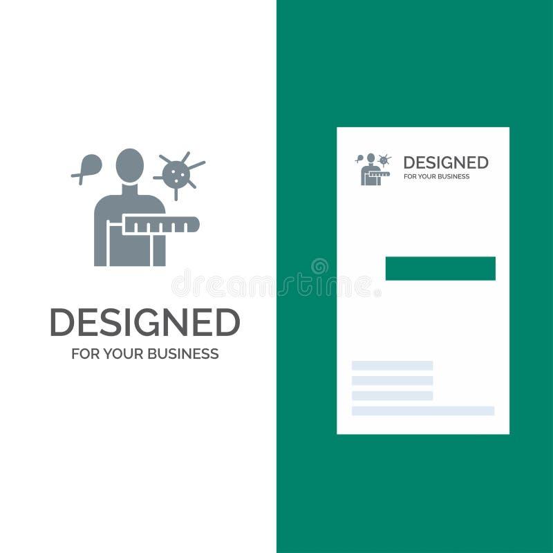 病毒,疾病,健康检查,演出灰色商标设计和名片模板 库存例证