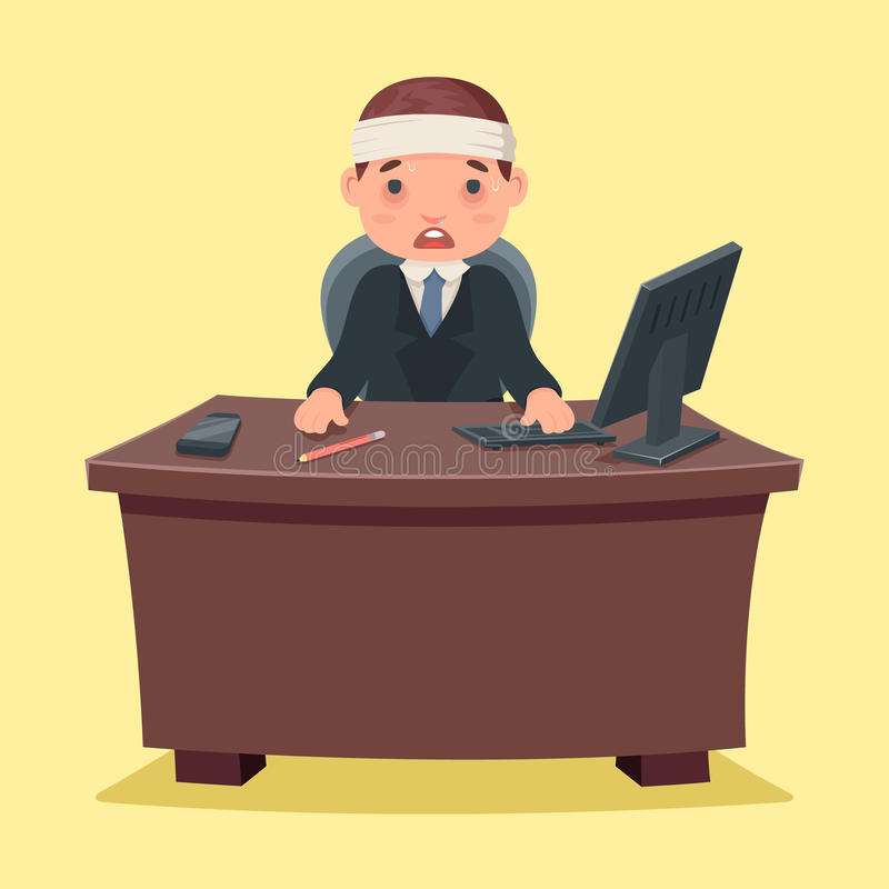病的不适的商人字符工作办公室桌面动画片设计传染媒介例证 皇族释放例证