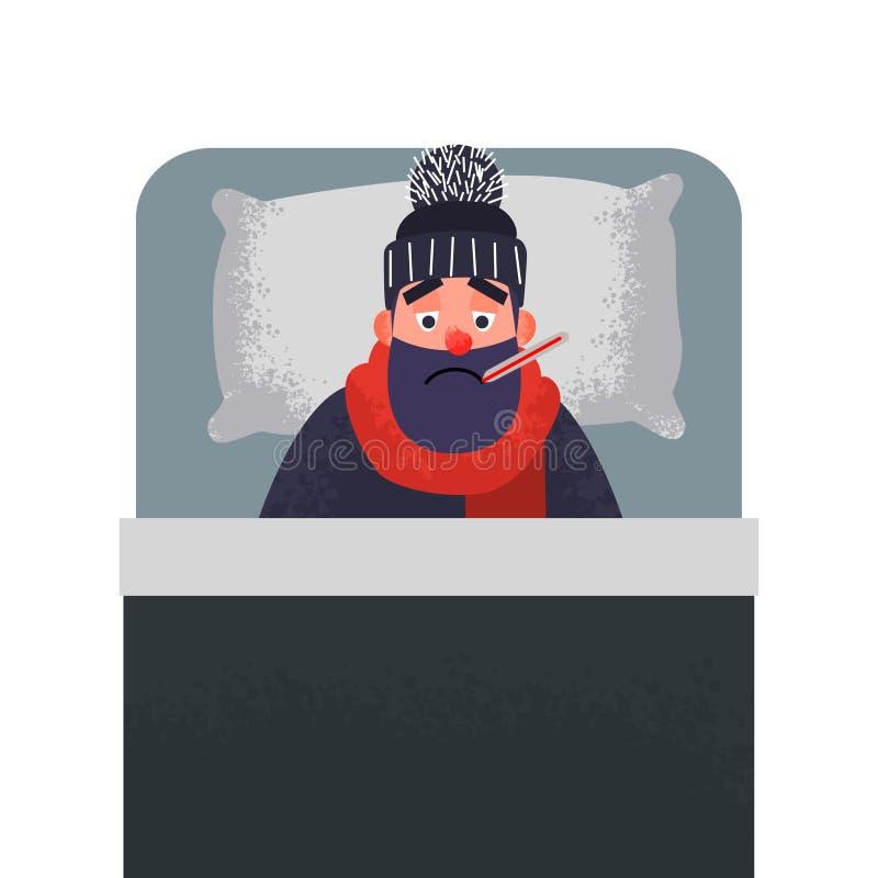 病的冷的人在与温度计的床上 向量例证