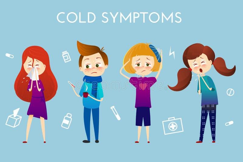 病的孩子以热病,病症 男孩和女孩以喷嚏,高温,喉咙痛,热,咳嗽,头疼,传染媒介 库存例证