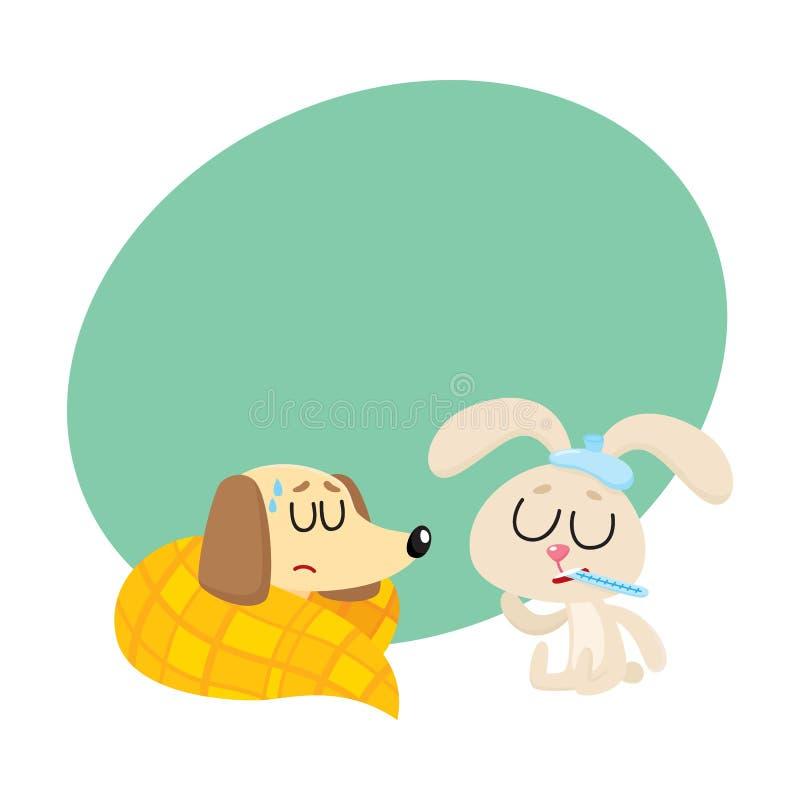 病的有小狗和的兔子流感,热病,冷 皇族释放例证