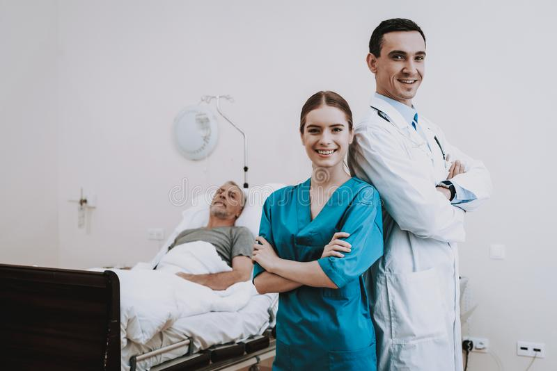 病的老人在Clinick 病的患者在医院 图库摄影