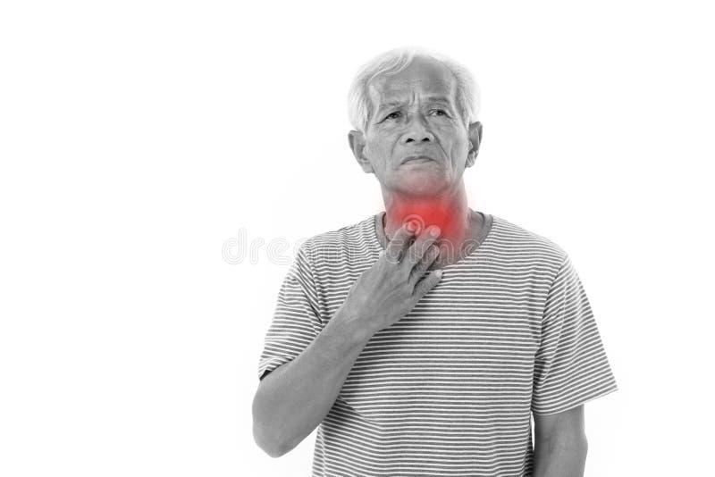病的老人,喉咙痛 免版税库存图片