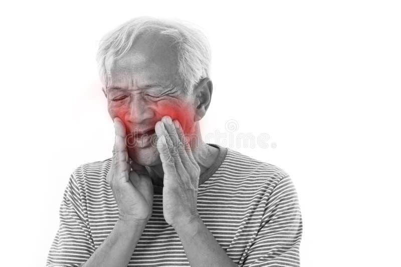 病的老人,牙痛 免版税库存图片