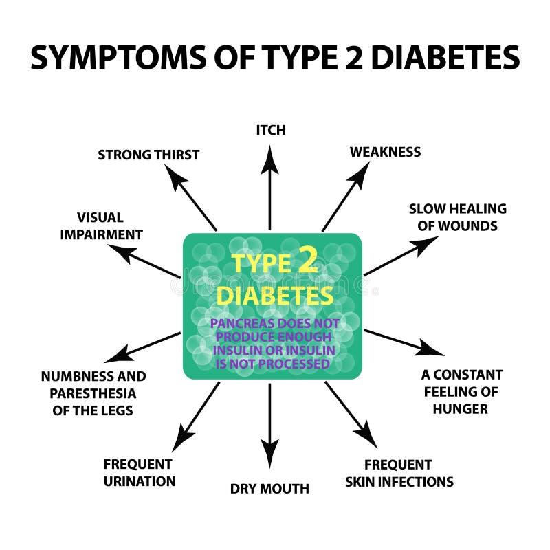 症状第二类型糖尿病 Infographics 在被隔绝的背景的传染媒介例证 向量例证