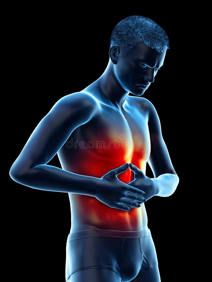 痛苦的腹部 向量例证