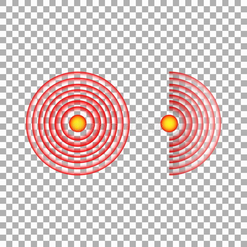 痛苦红色圈子或地方化标记、酸疼的地方标志、痛苦的抽象符号,痛处或者创伤身体局部标志,设计 皇族释放例证