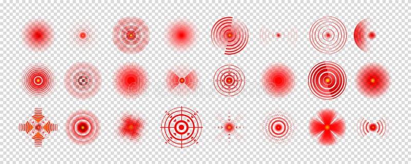 痛苦红色圈子或地方化标记,酸疼的地方标志,痛苦的抽象符号 皇族释放例证