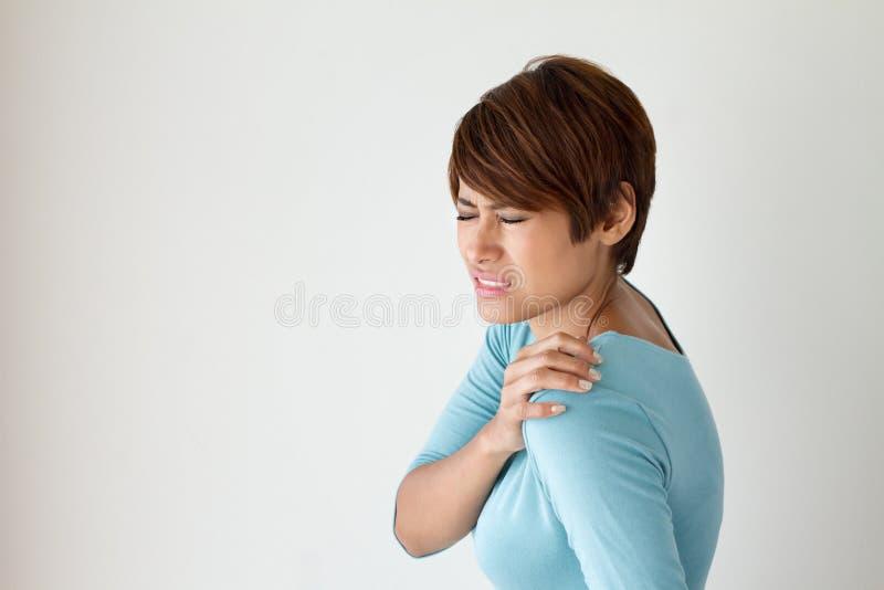 痛苦肩膀妇女 库存照片