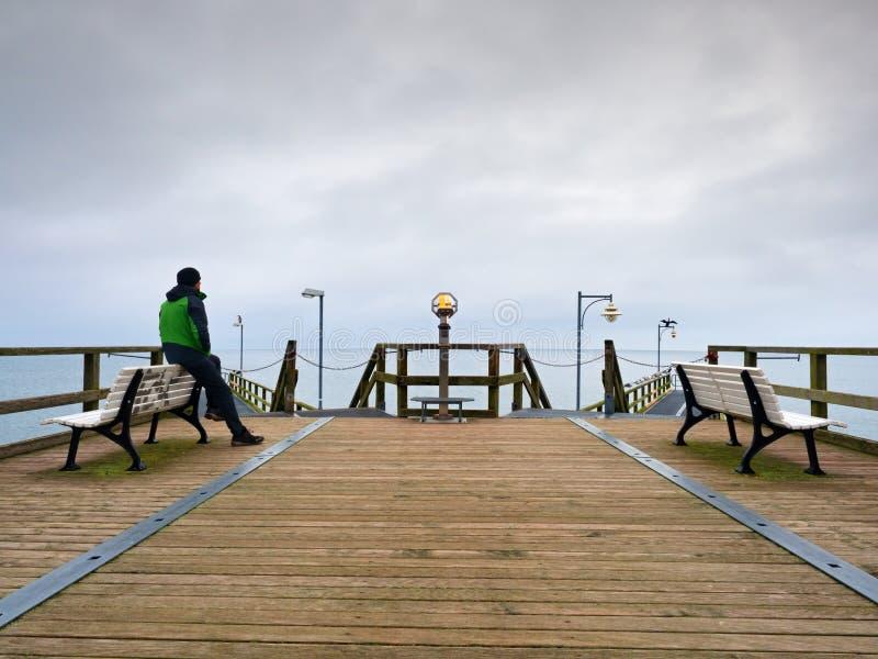 痣的,秋天有薄雾的早晨人 扶手栏杆的游人 免版税库存照片