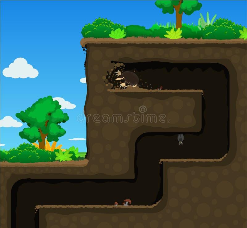 痣高开掘地下动画片 向量例证