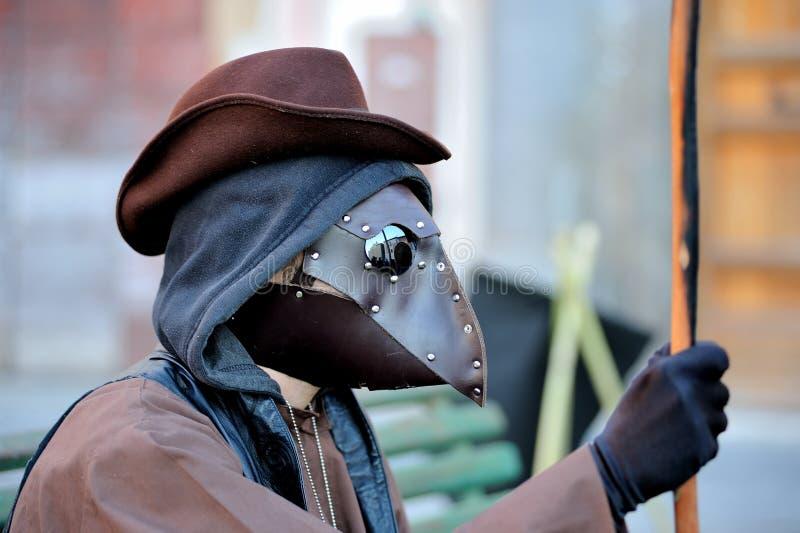 瘟疫医生中世纪面具 免版税库存图片