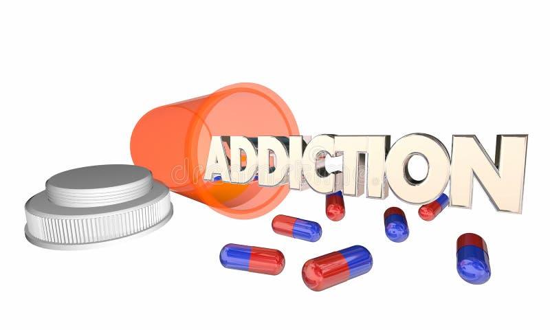 瘾吸毒处方药瓶词 向量例证