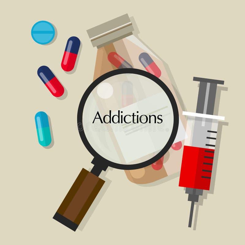 瘾吸毒者药片药剂过量传染媒介例证象 库存例证