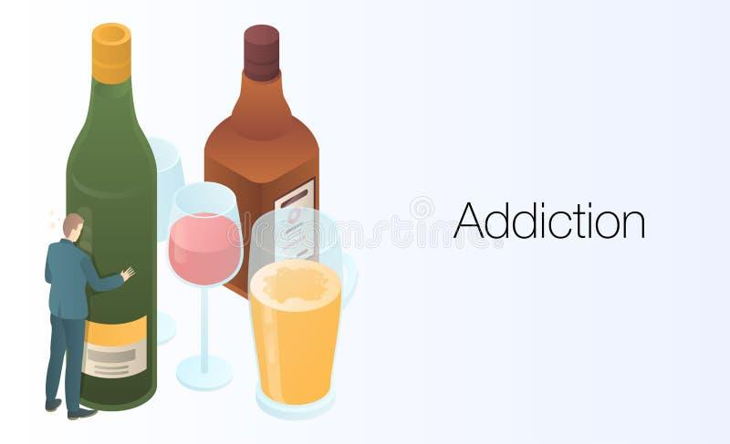 瘾概念横幅,等量样式 向量例证