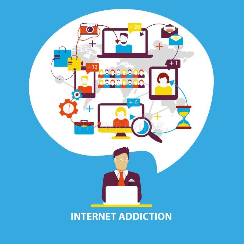 瘾被画的现有量例证互联网向量白色 人使用智能手机,笔记本和 库存例证