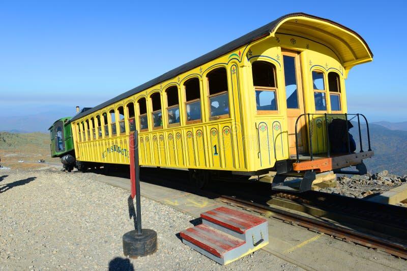 登上华盛顿嵌齿轮铁路,新罕布什尔 库存图片
