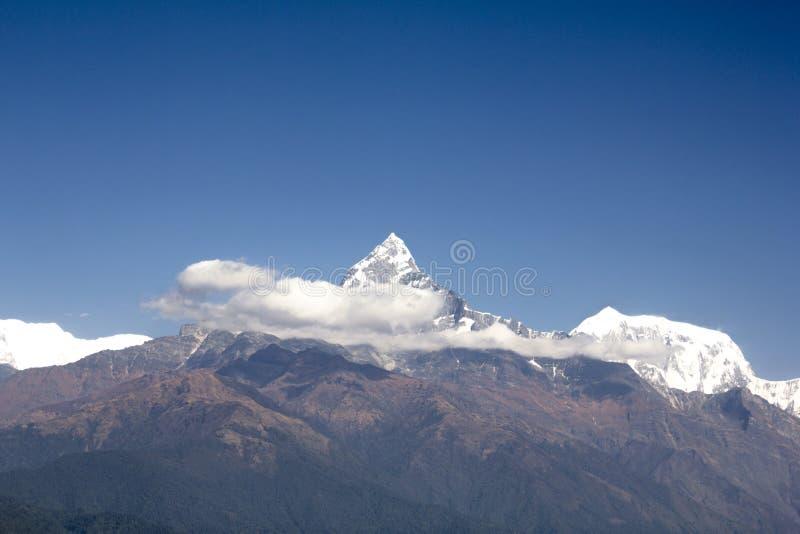 登上安纳布尔纳峰和反对一干净的天空蔚蓝的白色云彩绿色倾斜有多雪的山峰的鱼尾峰 尼泊尔喜马拉雅山 免版税图库摄影