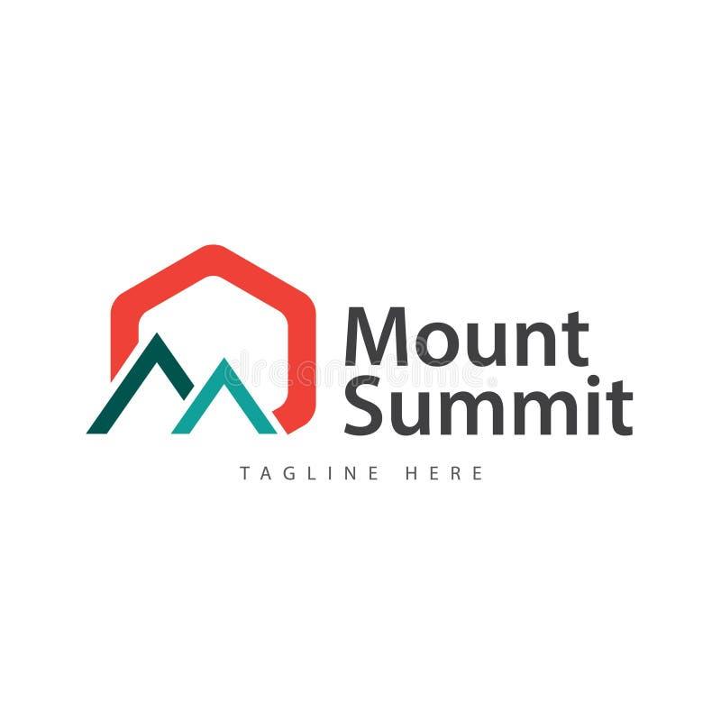 登上山顶商标传染媒介模板设计例证 向量例证