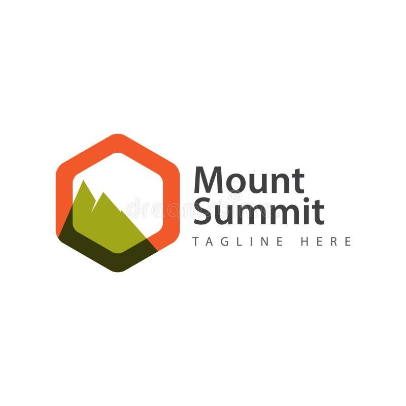 登上山顶商标传染媒介模板设计例证 库存例证