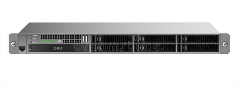 登上的1U服务器与有六2的19英寸机架 5英寸硬盘和一个光驱 库存例证