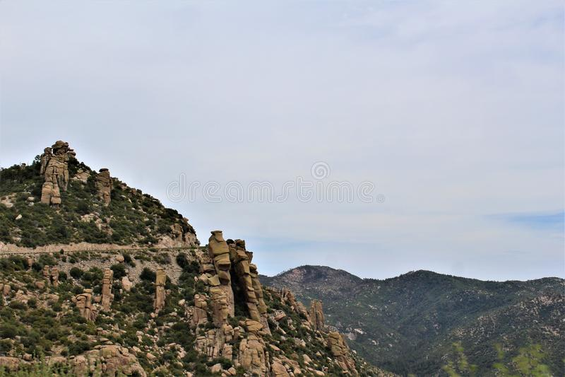 登上莱蒙,圣卡塔利娜山,科罗纳多国家森林,图森,亚利桑那,美国 库存照片