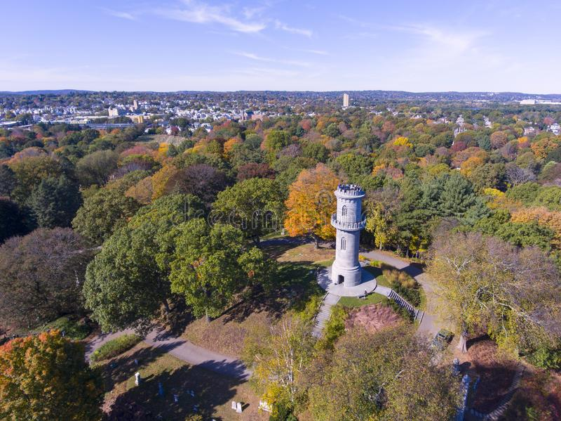 登上赤褐色公墓,沃特敦,马萨诸塞,美国 图库摄影