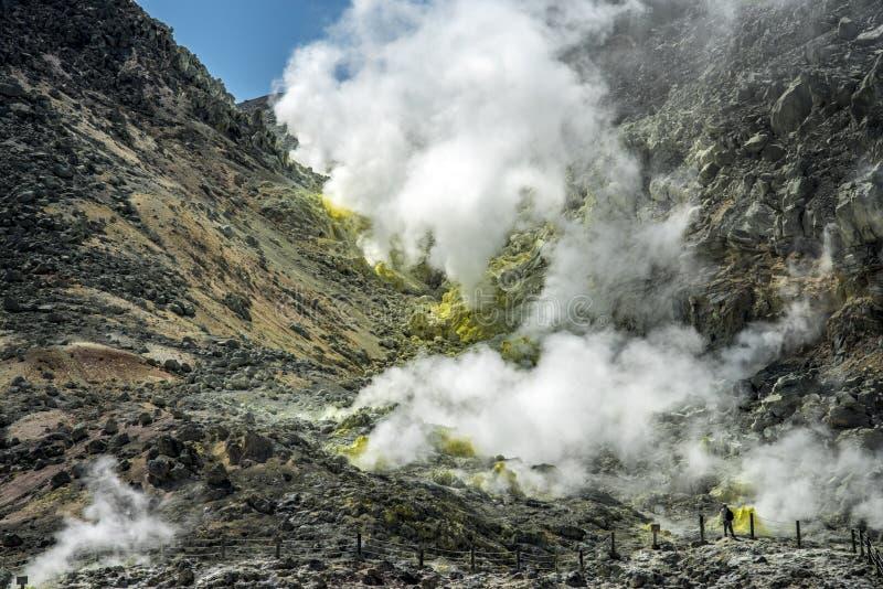 登上Io昝,赤裸山,北海道,日本 库存照片