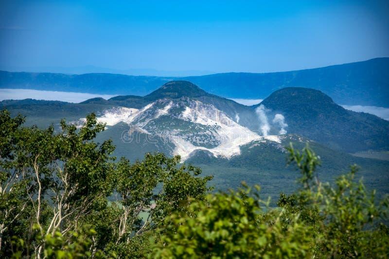 登上Io昝,赤裸山,北海道,日本 免版税库存图片