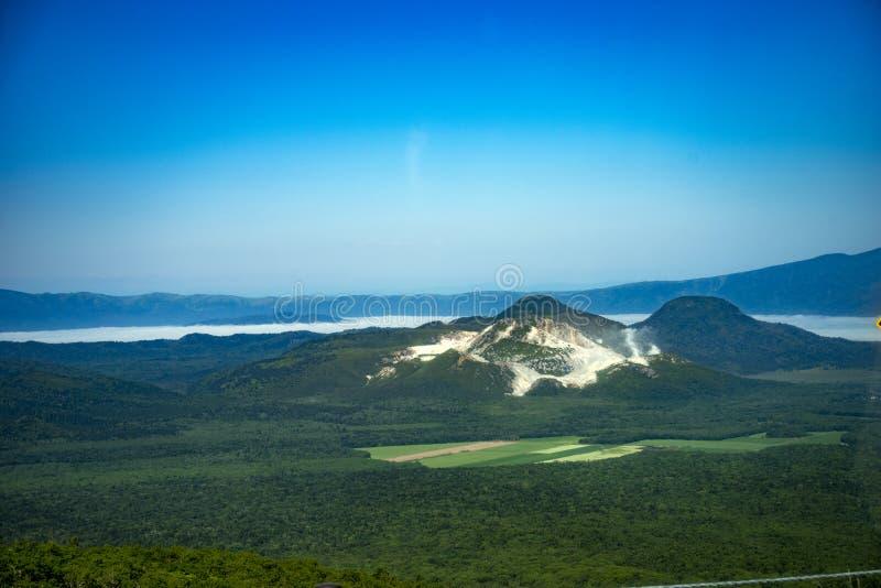 登上Io昝,赤裸山,北海道,日本 免版税图库摄影