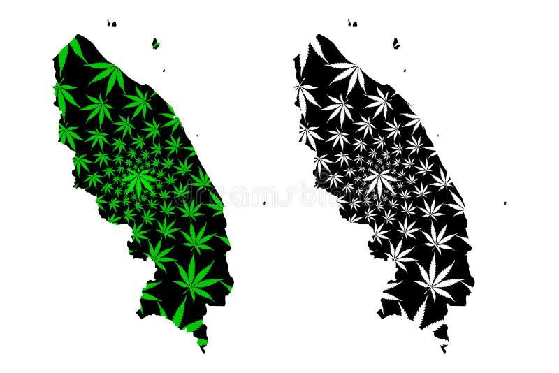 登嘉楼状态和马来西亚地图联邦疆土是被设计的大麻叶子绿色和黑的,登嘉楼Darul邦佐尔 向量例证