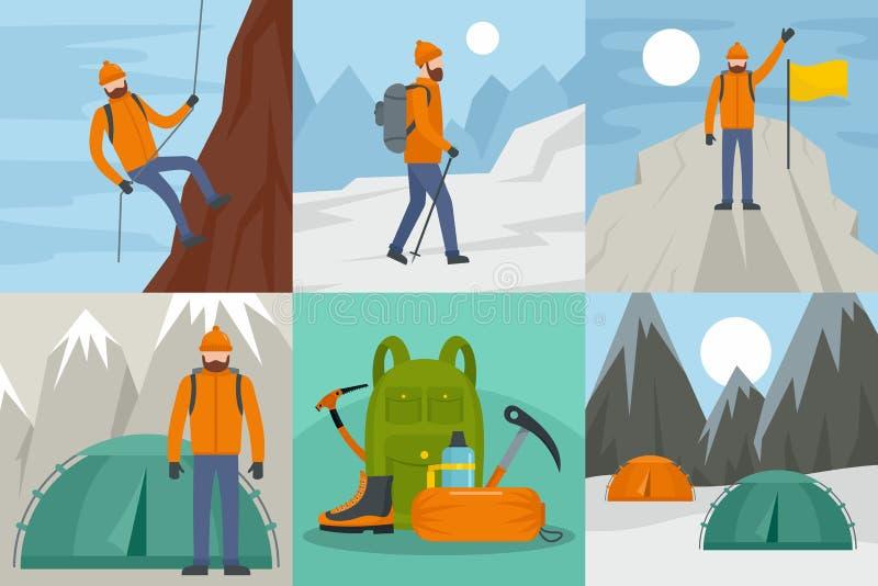 登山乘驾横幅概念集合,平的样式 库存例证
